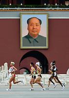 17 AUG 2008 - BEIJING, CHN - Womens Marathon -  Beijing Olympics. (PHOTO (C) NIGEL FARROW) *** IOC RULES APPLY ON USAGE ***