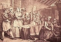 William Hogarth:  A Harlot's Progress, Plate 4.  Reference only.
