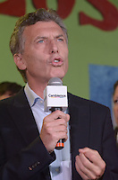 Presidential candidate for the opposition coalition Cambiemos (we change)  speaks during a rally campaign in Buenos Aires city , October 19 2015. Macri, mayor of Buenos Aires city, appears second in the polls for Sunday October 25 natioanl election in Argentina