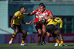 Japan plays Malaysia during the ARFU Asian Rugby 7s Round 1 on August 23, 2014 at the Hong Kong Football Club in Hong Kong, China. Photo by Xaume Olleros / Power Sport Images