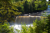 Upper Tahquamenon Falls, in the Upper Peninsula of Michigan, is one of the largest falls east of the Mississippi. It drops fifty feet and is 200 ft wide. Located in Luce county north of Newberry.