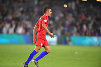 ORLANDO, FL - NOVEMBER 15: Aaron Long #3 of the United States scores a header goal and celebrates during a game between Canada and USMNT at Exploria Stadium on November 15, 2019 in Orlando, Florida.