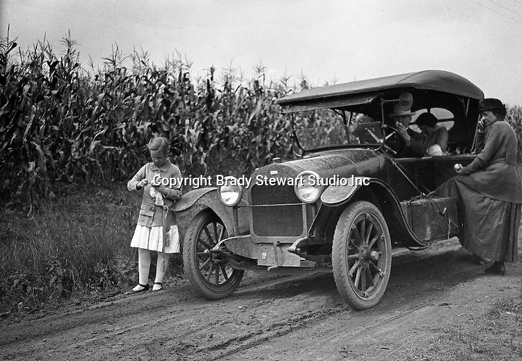 Fayette County: Brady and Sarah Stewart taking a day trip in a 1914 Chevrolet Light Six Touring car with Brady family members.