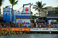 the singing of the National Anthem as age groupers prepare for start, 2007 Ford Ironman Triathlon World Championship,, Kailua Kona, Big Island, Hawaii, USA, Pacific Ocean