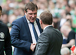 Celtic v St Johnstone …26.08.17… Celtic Park… SPFL<br />Tommy Wright shakes hands with Brendan Rodgers prior to kick off<br />Picture by Graeme Hart.<br />Copyright Perthshire Picture Agency<br />Tel: 01738 623350  Mobile: 07990 594431