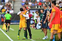 Carson, CA - Thursday August 03, 2017: Lisa De Vanna, Alen Stajcic during a 2017 Tournament of Nations match between the women's national teams of Australia (AUS) and Brazil (BRA) at the StubHub Center.