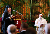 """Orthodox Patriarch Bartholomew of Constantinople addresses the meeting, """"Faith and Science: Towards COP26,"""" with Pope Francis and other religious leaders in the Hall of Benedictions at the Vatican Oct. 4, 2021. The meeting was part of the run-up to the U.N. Climate Change Conference, called COP26, in Glasgow, Scotland, Oct. 31 to Nov. 12, 2021."""