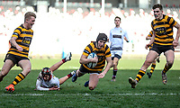 Tuesday 3rd March 2020 | RSA vs RBAI<br /> <br /> RBAI fullback Ronan Boyle beats Sam Cunningham to score during the Ulster Schools' Cup Semi-Final between Royal School Armagh and RBAI at Kingspan Stadium, Ravenhill Park, Belfast, Northern Ireland. Photo by John Dickson / DICKSONDIGITAL