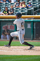Reymond Fuentes (12) of the Omaha Storm Chasers at bat against the Salt Lake Bees in Pacific Coast League action at Smith's Ballpark on August 16, 2015 in Salt Lake City, Utah.Omaha defeated Salt Lake 11-4.  (Stephen Smith/Four Seam Images)