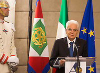 Il Presidente della Repubblica Sergio Mattarella parla durante la Conferenza degli Ambasciatori alla Farnesina, Roma, 27 luglio 2015.<br /> Italian President Sergio Mattarella speaks during the Conference of Italian Ambassadors, at the Foreign Ministry headquarters in Rome 27 July 2015.<br /> UPDATE IMAGES PRESS/Riccardo De Luca