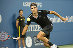 Roger Federer (SUI) defeats Roberto Bautista Agut (ESP) 6-4, 6-3, 6-2 at the US Open being played at USTA Billie Jean King National Tennis Center in Flushing, NY on September 2, 2014