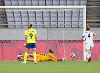 TOKYO, JAPAN - JULY 21: Alyssa Naeher #1 of the USWNT makes a save during a game between Sweden and USWNT at Tokyo Stadium on July 21, 2021 in Tokyo, Japan.
