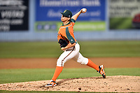 Greensboro Grasshoppers pitcher Alex Mateo (17) delivers a pitch during a game against the Asheville Tourists at McCormick Field on April 27, 2017 in Asheville, North Carolina. The Tourists defeated the Grasshoppers 8-5. (Tony Farlow/Four Seam Images)