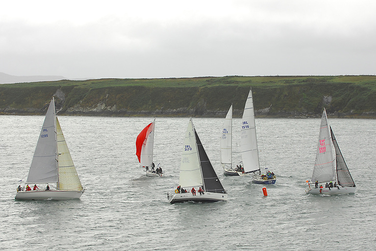 Class Two yachts round the weather mark in day three of Calves Week Regatta Photo: Thomas Newman