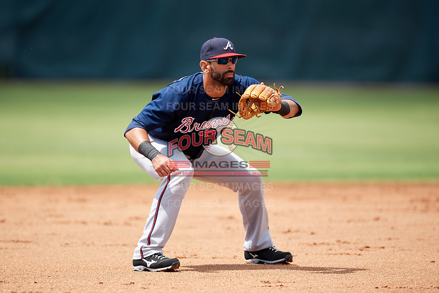 Atlanta Braves third baseman Jose Bautista (1) waits for a throw from the catcher after a strikeout during a Minor League Extended Spring Training game against the Philadelphia Phillies on April 20, 2018 at Carpenter Complex in Clearwater, Florida.  (Mike Janes/Four Seam Images)