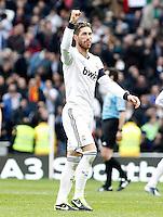 Real Madrid's Sergio Ramos celebrates goal during La Liga match.March 02,2013. (ALTERPHOTOS/Acero) /NortePhoto