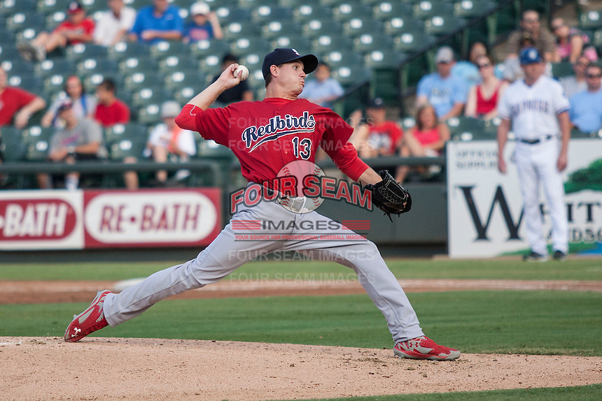 Memphis Redbirds starting pitcher Boone Whiting (13) delivers a pitch to the plate during the second game of a Pacific Coast League doubleheader against the Round Rock Express on August 3, 2014 at the Dell Diamond in Round Rock, Texas. The Redbirds defeated the Express 7-6. (Andrew Woolley/Four Seam Images)