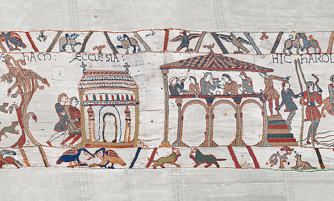 Bayeux Tapestry scene 3 - 4: Harold stops on way to Normandy to recieve blessing at Bosham church and then feasts.  BYX3