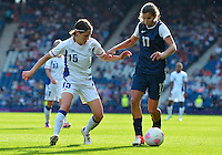 July 25, 2012..Elise Bussaglia (15) and Tobin Heath (17). USA vs France Football match during 2012 Olympic Games at Hampden Park in Glasgow, England. USA defeat France 4-2 after conceding two goals in the first half of the match...(Credit Image: © Mo Khursheed/TFV Media)