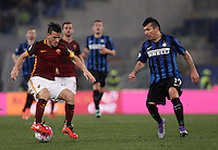 Calcio, Serie A: Roma vs Inter. Roma, stadio Olimpico, 19 marzo 2016.<br /> Roma's Alessandro Florenzi, left, is challenged by FC Inter's Gary Medel during the Italian Serie A football match between Roma and FC Inter at Rome's Olympic stadium, 19 March 2016. The game ended 1-1.<br /> UPDATE IMAGES PRESS/Isabella Bonotto