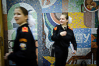 RUSSIA, Moscow, 11.2010. ©  Sergey Kozmin/EST&OST.The Moscow Girls' Cadet Boarding School. A brake between the classes.