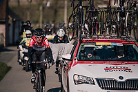 Tiesj Benoot (BEL/Lotto-Soudal) 'assisted' along the way...<br /> <br /> Omloop Het Nieuwsblad 2018<br /> Gent › Meerbeke: 196km (BELGIUM)