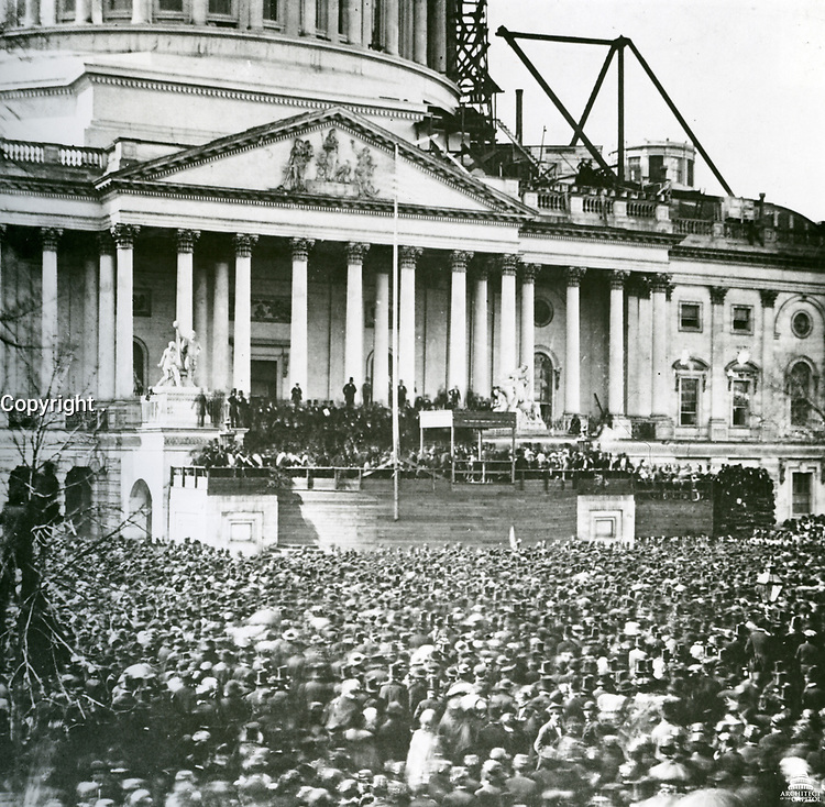 The first inauguration of President Abraham Lincoln at the U.S. Capitol, as the Capitol Dome is under construction. March 4, 1861.<br /> <br /> Photo by Architect of the Capitol photographers.