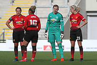 Siobhan Chamberlain (Manchester United Women) talks to Millie Turner (Manchester United Women) during the English Womens Championship match between Manchester United Women and Leicester City Women at Leigh Sports Village, Leigh, England on 10 March 2019. Photo by James Gill / PRiME Media Images.
