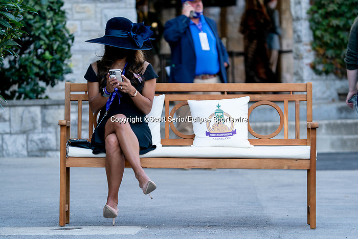 November 7, 2020 : An attendee sits on a bench the paddock on Breeders' Cup Championship Saturday at Keeneland Race Course in Lexington, Kentucky on November 7, 2020. Scott Serio/Eclipse Sportswire/Breeders' Cup/CSM