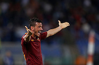 Calcio, Serie A: Roma vs Inter. Roma, stadio Olimpico, 2 ottobre 2016.<br /> Roma's Alessandro Florenzi celebrates after his teammate Kostas Manolas, not pictured, scored the winning goal during the Italian Serie A football match between Roma and FC Inter at Rome's Olympic stadium, 2 October 2016. Roma won 2-1.<br /> UPDATE IMAGES PRESS/Isabella Bonotto