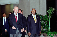 OTTAWA , November 17th 2001 FILE PHOTO<br /> <br />  UN General secretary Kofi Annan (R) and  Canadian Prime Minister Jean Chretien (L) walk  to a private meeting  , held at the Ministry of Foreign Affairs and International Trade Building, outside the G-20 perimeter , on the 2nd day of the G-20 summit in Ottawa, CANADA, November 17th, 2001<br /> <br /> Annan is the UN secretary-general since 199), born in Kumasi, Ghana. He studied in the USA and Switzerland, joining the UN in 1962, and held posts in the High Commission for Refugees and the World Health Organization. After joining the UN secretariat, he became (1993) under-secretary -general for peacekeeping operations. He replaced Boutros Boutros-Ghali to become the first secretary-general from sub-Saharan Africa.