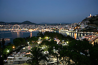 KUSADASI AT NIGHT SEEN FROM PIGEON ISLAND, TURKEY