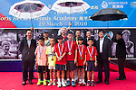 (back row) Joseph Wang, Ke Guangming, Mission Hills Vice Chairman Tenniel Chu, tennis legend Boris Becker, Hong Kong tennis association President Philip Mok, and Zhao Zhiqiang pose with Junior Chinese tennis players receiving medals (front row) during the press conference for the opening of Boris Becker Tennis Academy at Mission Hills Resort on 19 March 2016, in Shenzhen, China. Photo by Lucas Schifres / Power Sport Images