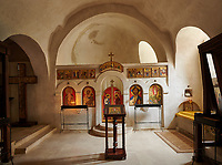 Picture & image of interior of church, David Gareja Georgian Orthodox monastery, Mount Gareja, Kakheti Region, Georgia (country)<br /> <br /> Founded in the 6th century by David (St. David Garejeli), one of the  thirteen Assyrian monks who built monasteries throughout Georgia. The monastery is spread out over a huge area of the arid Mount Gareja, with small cells and chapels cut into cliff faces.