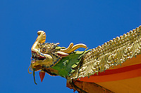 Makara, or chu srin in Tibetan, a composite water-monster to drain away rainwater.  With lower jaw of a crocodile, trunk of an elephant, scales of fish, horns of a dragon, located at the corners of the roof of Takten Migyu Potrang, or New Summer Palace of the 14th Dalai Lama, at Norbulingka, founded by the 7th Dalai Lama in 1755, Lhasa, Tibet, China.