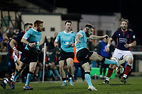 Sean Scanlon of Nottingham Rugby kicks low during the Greene King IPA Championship match between London Scottish Football Club and Nottingham Rugby at Richmond Athletic Ground, Richmond, United Kingdom on 7 February 2020. Photo by Carlton Myrie.
