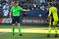 CARSON, CA - JUNE 19: Referee Drew Fischer directions to GK Stefan Cleveland #30  the Seattle Sounders FC during a game between Seattle Sounders FC and Los Angeles Galaxy at Dignity Health Sports Park on June 19, 2021 in Carson, California.
