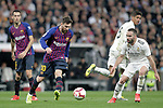 Real Madrid CF's Daniel Carvajal, Raphael Varane and FC Barcelona's Sergio Busquets, Leo Messi during La Liga match. March 02,2019. (ALTERPHOTOS/Alconada)