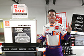 DARLINGTON, SOUTH CAROLINA - MAY 20: Denny Hamlin, driver of the #11 FedEx Delivering Strength Toyota, celebrates in victory lane after winning the rain-delayed NASCAR Cup Series Toyota 500 at Darlington Raceway on May 20, 2020 in Darlington, South Carolina. (Photo by Chris Graythen/Getty Images)