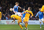 Motherwell v St Johnstone.....20.01.13      SPL.Liam Craig clatters into Keith Lasley.Picture by Graeme Hart..Copyright Perthshire Picture Agency.Tel: 01738 623350  Mobile: 07990 594431