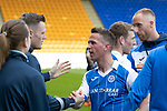 St Johnstone v Ross County…12.05.18…  McDiarmid Park    SPFL<br />Chris Millar is applauded of the pitch by his team mates after playing his last game for saints<br />Picture by Graeme Hart. <br />Copyright Perthshire Picture Agency<br />Tel: 01738 623350  Mobile: 07990 594431