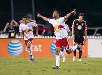 Wilman Conde (2) of the New York Red Bulls celebrates his goal during the game at RFK Stadium in Washington, DC.  D.C. United tied the New York Red Bulls, 2-2.
