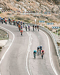 The peloton along the coast during Stage 10 of La Vuelta d'Espana 2021, running 189km from Roquetas de Mar to Rincón de la Victoria, Spain. 24th August 2021.     <br /> Picture: Cxcling   Cyclefile<br /> <br /> All photos usage must carry mandatory copyright credit (© Cyclefile   Cxcling)
