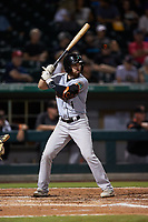 Mason McCoy (1) of the Norfolk Tides at bat against the Charlotte Knights at Truist Field on August 19, 2021 in Charlotte, North Carolina. (Brian Westerholt/Four Seam Images)