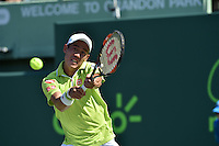 KEY BISCAYNE, FL - APRIL 02: John Isner defeats Kei Nishikori of Japan during day 11 of the Miami Open at Crandon Park Tennis Center on April 2, 2015 in Key Biscayne, Florida.<br /> <br /> <br /> People:  Kei Nishikori<br /> <br /> Transmission Ref:  FLXX<br /> <br /> Must call if interested<br /> Michael Storms<br /> Storms Media Group Inc.<br /> 305-632-3400 - Cell<br /> 305-513-5783 - Fax<br /> MikeStorm@aol.com