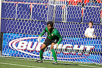 Briana Scurry crouches in goal. USA defeated Brazil 2-0 at Giants Stadium on Sunday, June 23, 2007.