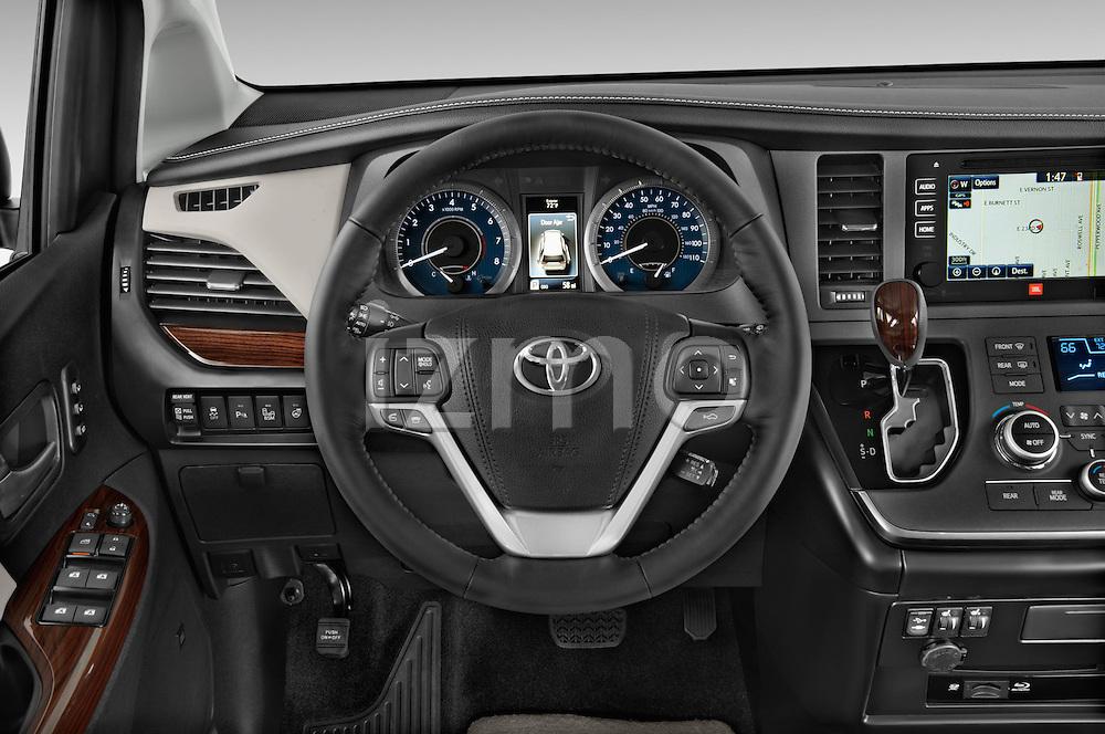 Car pictures of steering wheel view of a 2017 Toyota Sienna Limited 5 Door Minivan Steering Wheel