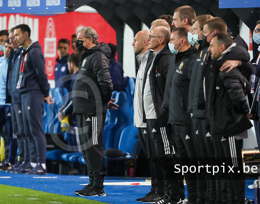 Head coach Jacky Mathijssen of Belgium during the line up at a soccer game between the national teams Under21 Youth teams of Belgium and Kazakhstan on the third matday in group I for the qualification for the Under 21 EURO 2023 , on friday 8 th of october 2021  in Leuven , Belgium . PHOTO SPORTPIX | SEVIL OKTEM