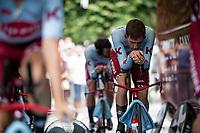 Alex Dowsett (GBR/Katusha-Alpecin) warming up for the TTT<br /> <br /> Stage 2 (TTT): Brussels to Brussels(BEL/28km) <br /> 106th Tour de France 2019 (2.UWT)<br /> <br /> ©kramon