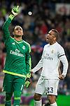 Real Madrid's Keylor Navas and Danilo da Silva after stops the penalty and Sevilla FC's  during La Liga match. March 20,2016. (ALTERPHOTOS/Borja B.Hojas)
